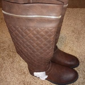 Brown Eva Buckle Wrap Tall Boot Sz 8